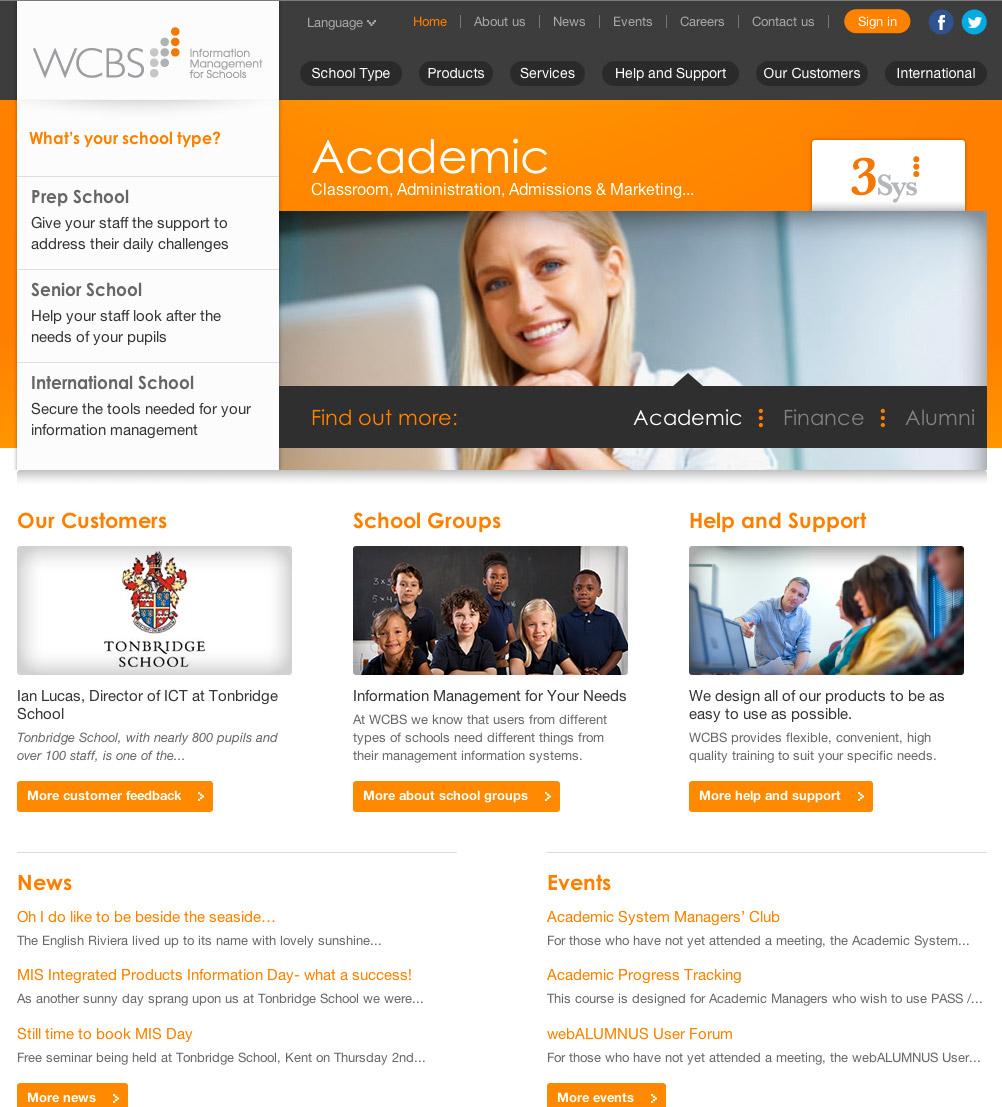 WCBS website design