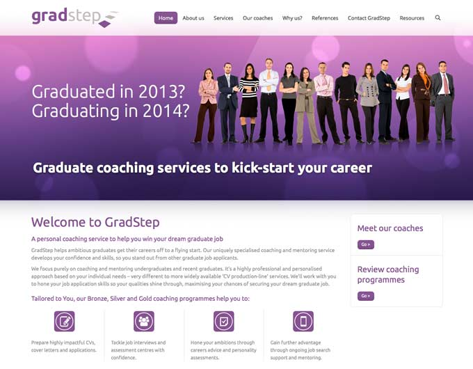 image of gradstep website homepage